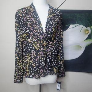 Rachel Roy Vaughn Floral Twist Front Blouse